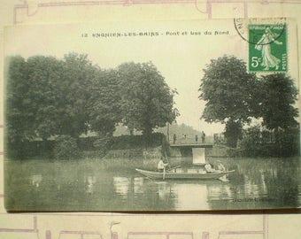 Enghien Les Bains - Early 1900s - Antique French Postcard - Pont et Lac du Nord