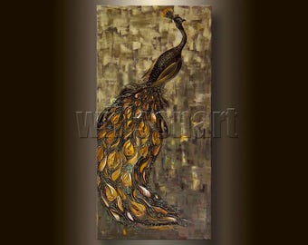 Peacock Animal Oil Painting Textured Palette Knife Contemporary Modern Original Bird Art 20X40 by Willson Lau