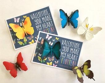 Kids Valentine, Valentine's Day Card, School Valentine, Class Valentine, Valentine's Day Favor, Butterfly Valentine, Bug Valentine