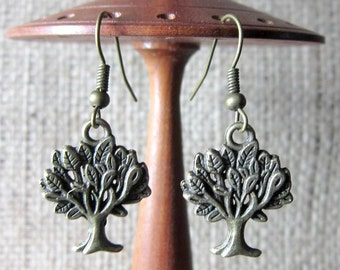 Bronze Leafy Tree Dangle Earrings - Dangles Drops Trees