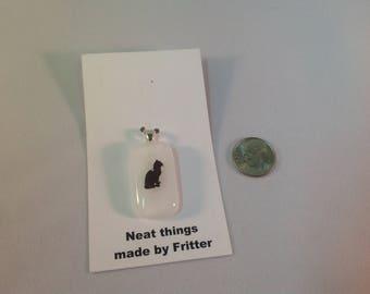 Fused Glass Cat pendant, C4
