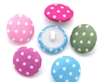 25 piece polka dot, fabric covered buttons