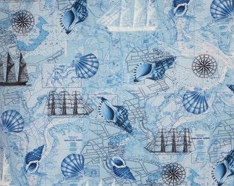 ON SALE Aqua Blue Navigation Print Pure Cotton Fabric--One Yard