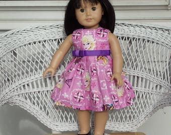 Cute Pink Princess Doll Dress Handmade to Fit American Girl Doll and Other 18 Inch Dolls