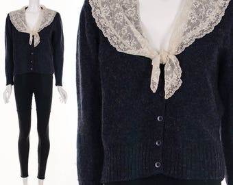 Vintage Navy Blue Wool Cardigan Sweater Lace Collar Scottish Wool Jumper Sweater Small Medium