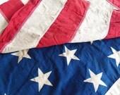 Vintage 48 Star American Flag, God Bless America, Patriotic Decorating