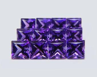 AMETHYST (33154)  - PARCEL (12 stones) Top Purple Amethyst 3.5mm Square Princess Cut - Faceted