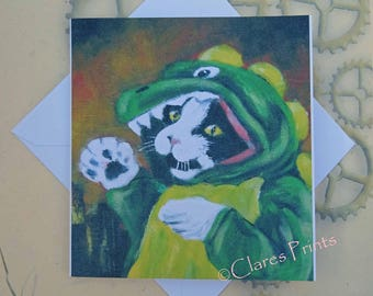 Catzilla Godzilla Art Cat Greeting Card From my Original Painting
