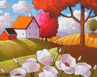 White Flower Cottages, Rural Country 8x11 Giclee Folk Art Print, Floral Blooms in Late Summer Sun, Reproduction Artwork by Cathy Horvath