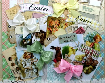 Vintage Easter Creativity Kit 2017 Polly's Paper Studio Paper Bows Images Crepe Fringe 66 piece kit