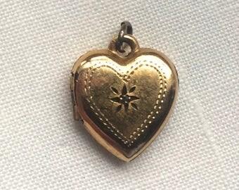 Vintage Heart Locket, Gold Filled Locket, Vintage Gold Locket, Picture Locket, Communion Gift, Flower Girl Gift, Vintage Heart, Gold Heart