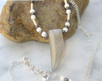 Stone Tooth Pendant Necklace, Silver Filled Chain Necklace, White Gray Stone Point Bead Pendant Necklace, Statement Jewelry, Custom Length