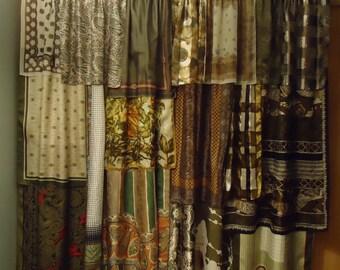 """Shades of Sage Green & Brown Gypsy Boho Curtains - 63"""" long"""