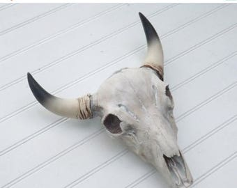 SPRING SALE Cow Skull~Western Decor~Faux Taxidermy~White Washed Skull~Bison Skull
