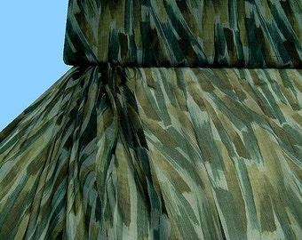 SCARF silk, green brown