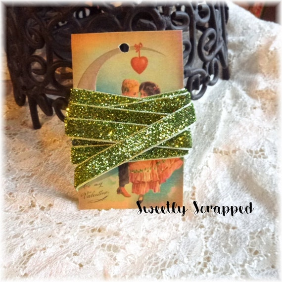 Green Glittery Ribbon .... Craft Supplies / DIY / Seam Binding / Trim / Glitter / Pocket Letters / Scrapbooking / Cardmaking / St. Patrick's