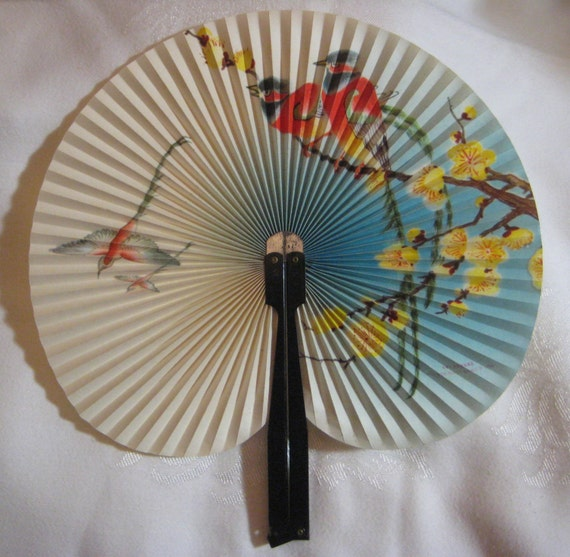 vintage folding hand fan made in the peoples republic of