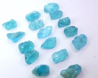 Natural Blue Apatite Rough Top Cabs. Hand cut Apatite Cabochons. Rough Top Flat Bottom. EZ Setting / 1 Pcs. 12 - 15mm +/- AP435