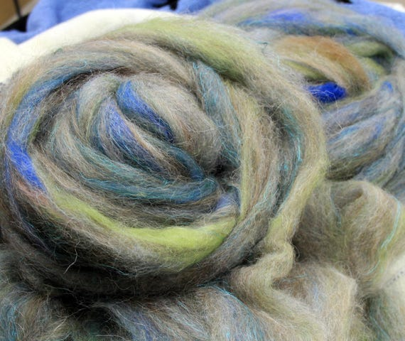 Art Roving - Blues/Greens  -4 oz. Spinderellas Thrums™  Spin ~Felt ~ Weave ~ Knit. Fun and funky. Alpaca- Merino- Mohair- Silk and more