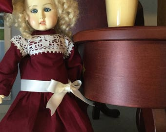 Bleuette doll dress cranberry and lace
