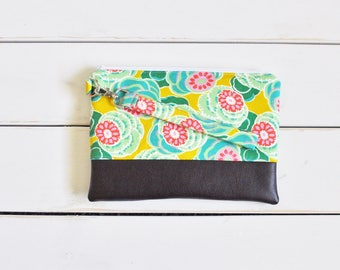 FUNKY FLORALS COLLECTION - Blue Carnation Mommy Clutch - Wallet Clutch - Small handbag - Blue Wristlet - Wallet Clutch