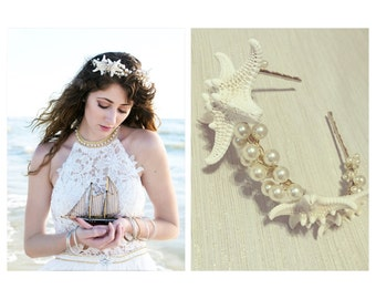 Gold Pearl Clusters & Knobby Starfish Headband + Mermaid Headpiece + Beach Wedding Crown + Bridal Tiara + Flower Girl Halo + Starfish Crown