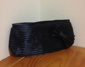 Vintage Black Silk Clutch bag/Cosmetic Silk Bag/Makeup Case Purse/Bag with a Bow/Clutch Purse/Mother's Day Gift/Accessories for Her