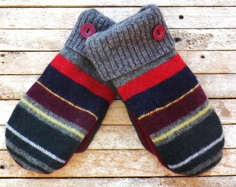 Felted Wool Sweater Mittens Large Womans Colorful Stripes Recycled Wool Fleece Lined Hand Made Warm Outerwear Winter Gear Christmas Gift