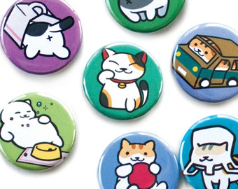 Neko Atsume Cute Kitty Buttons and Magnets