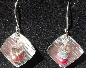 Embossed Sterling Silver Earwires with Pink Pearl and AB Bead