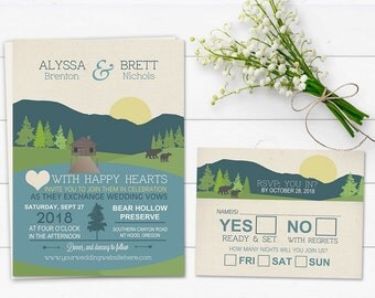 Mountain Wedding Invitation Rustic Mountain Wedding Lake Wedding | Camping Wedding Invite | Campground Casual Wedding Invite RSVP Printable