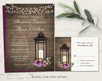 Purple Wedding Invitations Rustic Lantern Wedding Invitation Printable Set RSVP Country Wedding Wine Watercolor Florals Digital Template Kit