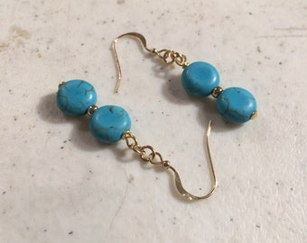 Turquoise Earrings - Gold Jewellery - Beaded Jewelry - Fashion - Mod - Gemstone