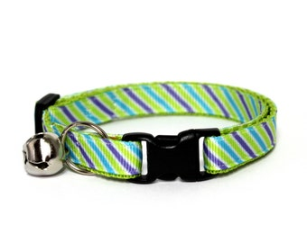 Cat Collar Springy Stripes Tie Green Purple Turquoise