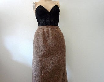 ON SALE 1980s Pencil Skirt / nubbly tweed straight skirt / vintage fall office fashion