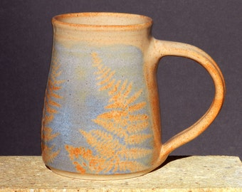 Blue Fern Mug, 22oz. Large Coffee Tea Big Handmade Stoneware Microwave Safe Woodland Botanical Home and Living Niehaus Pottery Kitchen Ware