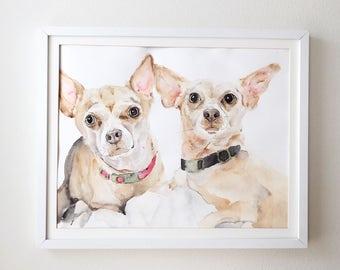 Chiweenie Pet Portrait, Pet Loss Gift, Pet Memorial Portrait, Pet Sympathy, Original Custom Watercolor Chihuahua Portrait- 2 dogs