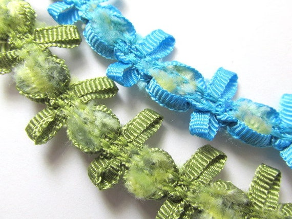 Chenille Picot Ribbon Trim by the yard in Turquoise, Aqua, Blue,Yellow  or Olive Green