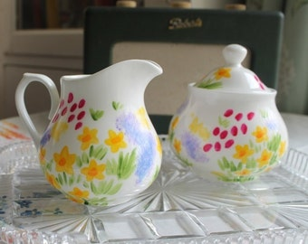 Meadow flowers sugar bowl hand painted florals