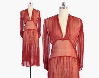 Vintage 30s DRESS / 1930s Sheer Brick Red Silk Crepe Chiffon Dress S - M