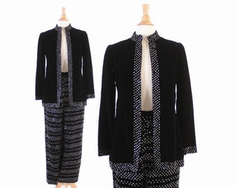 Vintage 60s PANTS SUIT / 1960s Malcolm Starr Black Velvet Beaded Sequin Cocktail Jacket & Trousers Set