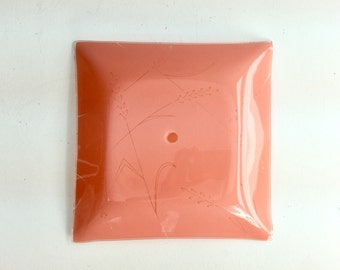 Vintage 1950s 60s Pink Bathroom, Bedroom Room Light Cover, Glass Shade, Ceiling Light Fixture