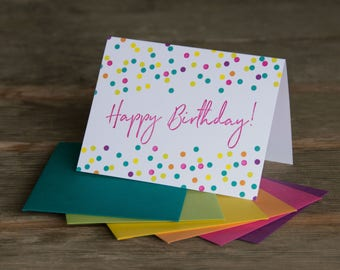 Happy Birthday Confetti, letterpress printed greeting card