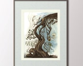Surreal Tree Painting Print - Digital Download - 5x7 Contemporary - Surrealist Fine Art - Floral Surrealism Painting Print Your Own Art