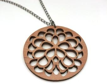 Alder Wood Flower Necklace, Laser Cut Necklace, Gunmetal Chain