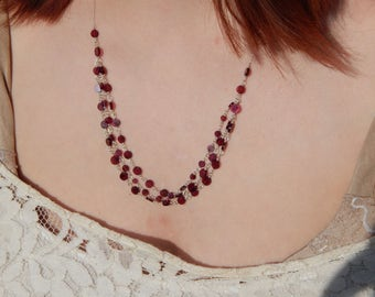 Multi Strand Layered Garnet Coin Beaded Chain Sterling Silver Necklace, OOAK, One of a Kind, January Birthstone