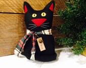 Christmas Black Cat Kitty  Wool Scarf Primitive Folk Art JKB