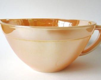 Peach Lustre Fire King Batter Bowl, Vintage Anchor Hocking Lusterware