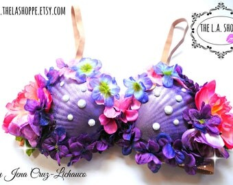 Size 34C only!! Mermaid Glittery Floral Seashell Costume Bra
