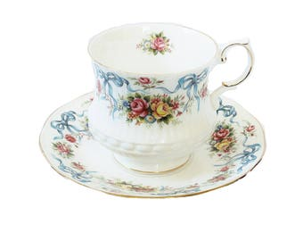 Floral Queen's China Cup and Saucer Rosina China Co English Bone China Teacup Set Cottage Roses Blue Bows Made In England Mothers Day Gift